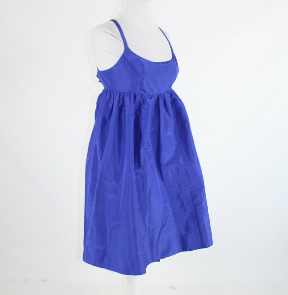 Bright blue 100% silk J. CREW spaghetti strap empire waist dress 2