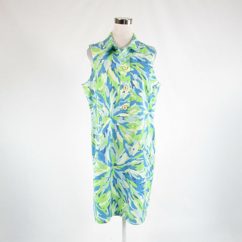 Blue green abstract cotton blend J. MCLAUGHLIN sleeveless sheath dress 14-Newish