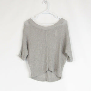 Gray silver ANN TAYLOR LOFT scoop neck sweater PXXS