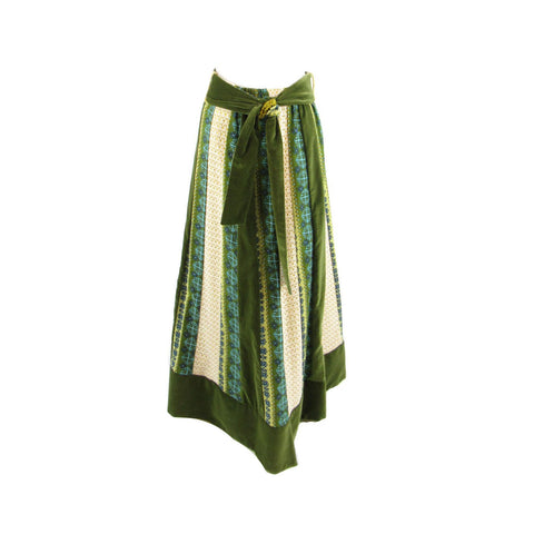 Olive green yellow geometric 100% cotton CHESSA DAVIS vintage maxi skirt S