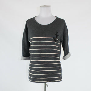 Charcoal gray cream striped 100% cotton GAP 3/4 sleeve crewneck sweatshirt XS
