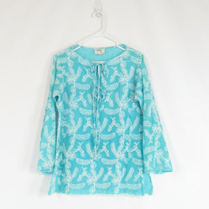 Turquoise blue white floral embroidered 100% cotton MILLY tunic blouse 10
