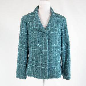 Light blue black textured cotton blend DONCASTER COLLECTION blazer jacket 12