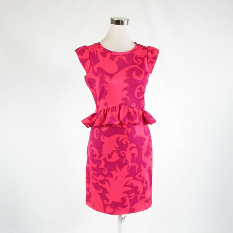 Salmon pink purple scroll CYNTHIA ROWLEY stretch cap sleeve peplum dress S-Newish