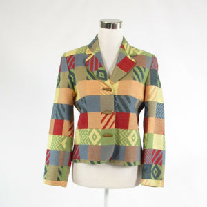 Peach blue red geometric DONCASTER long sleeve blazer jacket 2-Newish