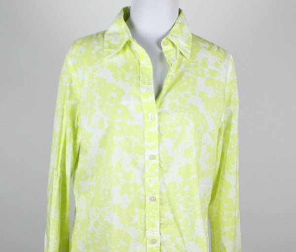 LIZ CLAIBORNE lime green white floral 100% cotton longsleeve buttondown shirt M-Newish