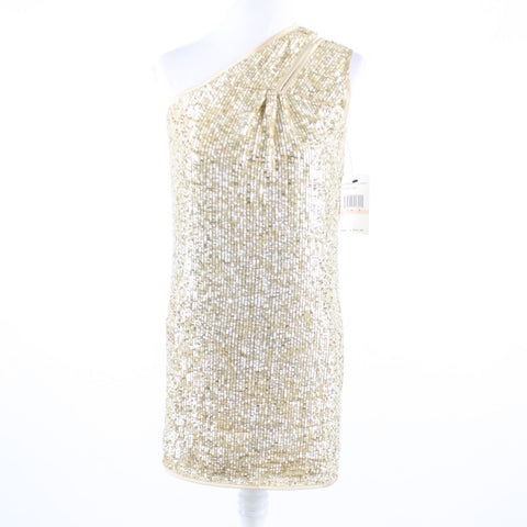 Beige gold clear sequin ABS Collection one shoulder dress 2 NWT $420