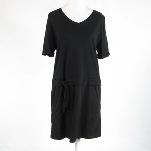 Black cotton blend KURT WOODS stretch 1/2 sleeve shift dress L