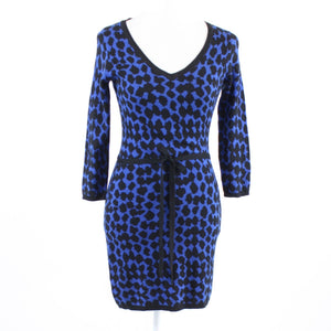 Dark blue black geometric cotton blend MSSP 3/4 sleeve sweater dress S