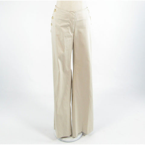 Light beige cotton blend ANN TAYLOR LOFT stretch wide leg khakis pants 6