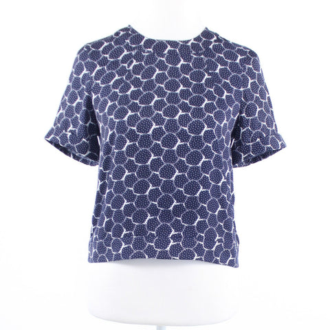 Navy blue white geometric polka dot ARMANI EXCHANGE short sleeve blouse XS