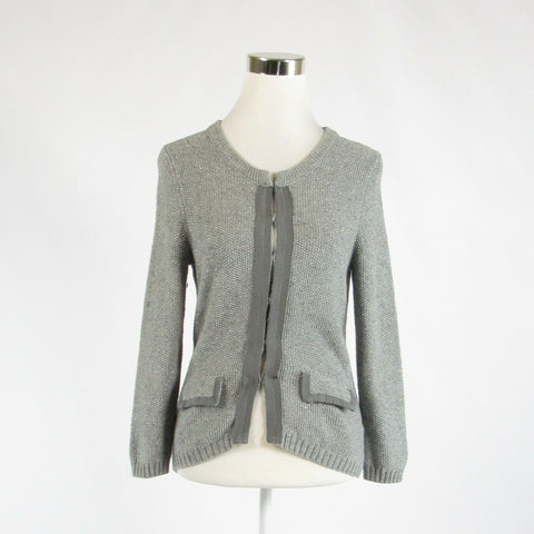 Gray silver textured cotton blend BANANA REPUBLIC long sleeve cardigan sweater S-Newish