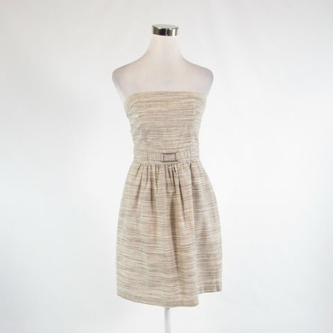 Beige taupe space dyed linen blend BANANA REPUBLIC A-line dress 2-Newish