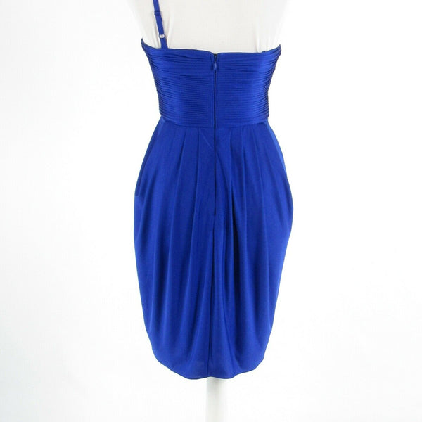 Bright blue ADRIANNA PAPELL sleeveless one shoulder dress 6