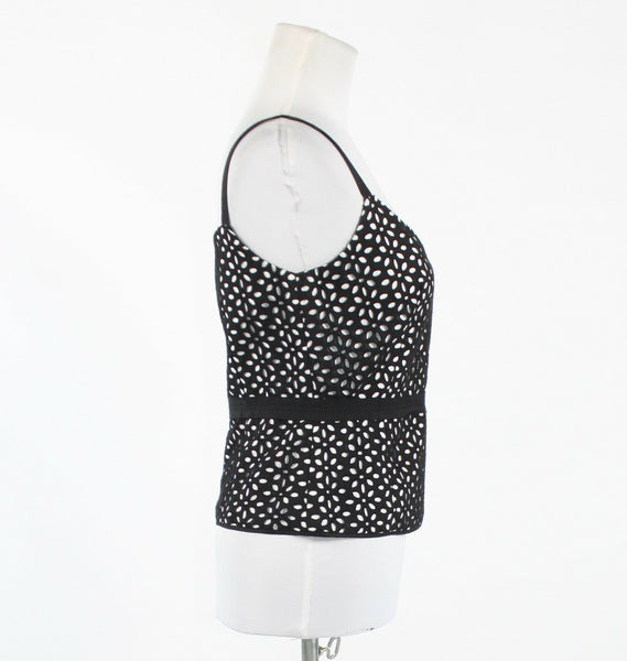 Black & white geometric eyelet 100% cotton ECCOCI ribbon trim tank blouse 6-Newish