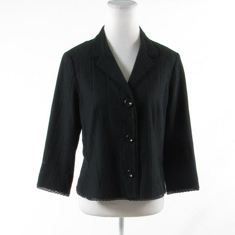 Black 100% cotton RICKIE FREEMAN Teri Jon 3/4 sleeve jacket M