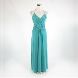Teal green LAUNDRY BY SHELLI SEGAL halter neck maxi dress 6