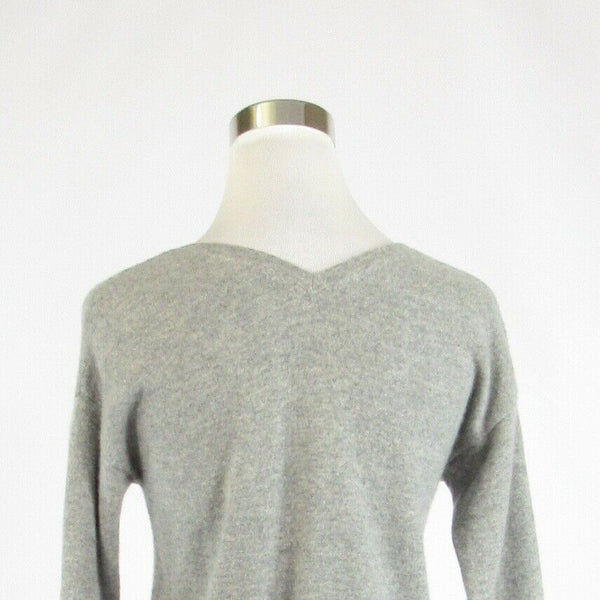 Heather gray white striped 100% cashmere THE CASHMERE PROJECT V-neck sweater S-Newish