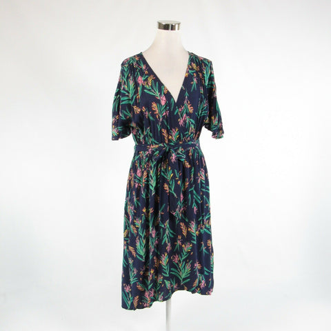 Navy blue green floral print MODCLOTH stretch cap sleeve faux wrap dress L