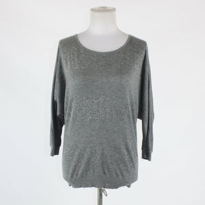 Gray silver metallic striped EXPRESS batwing boat neck stretch sweater S