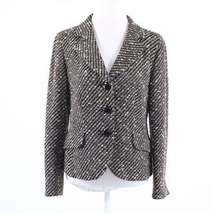 Black brown striped tweed TRIXI SCHOBER long sleeve button down blazer jacket 10