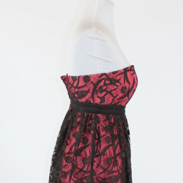 Brown over pink geometric lace MILLY strapless empire waist dress 2