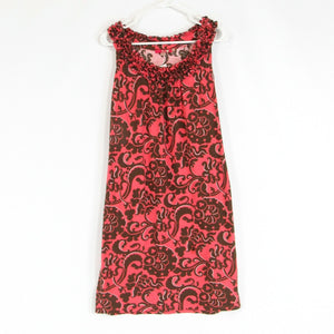 Salmon pink brown paisley 100% cotton BODEN stretch sleeveless shift dress 8