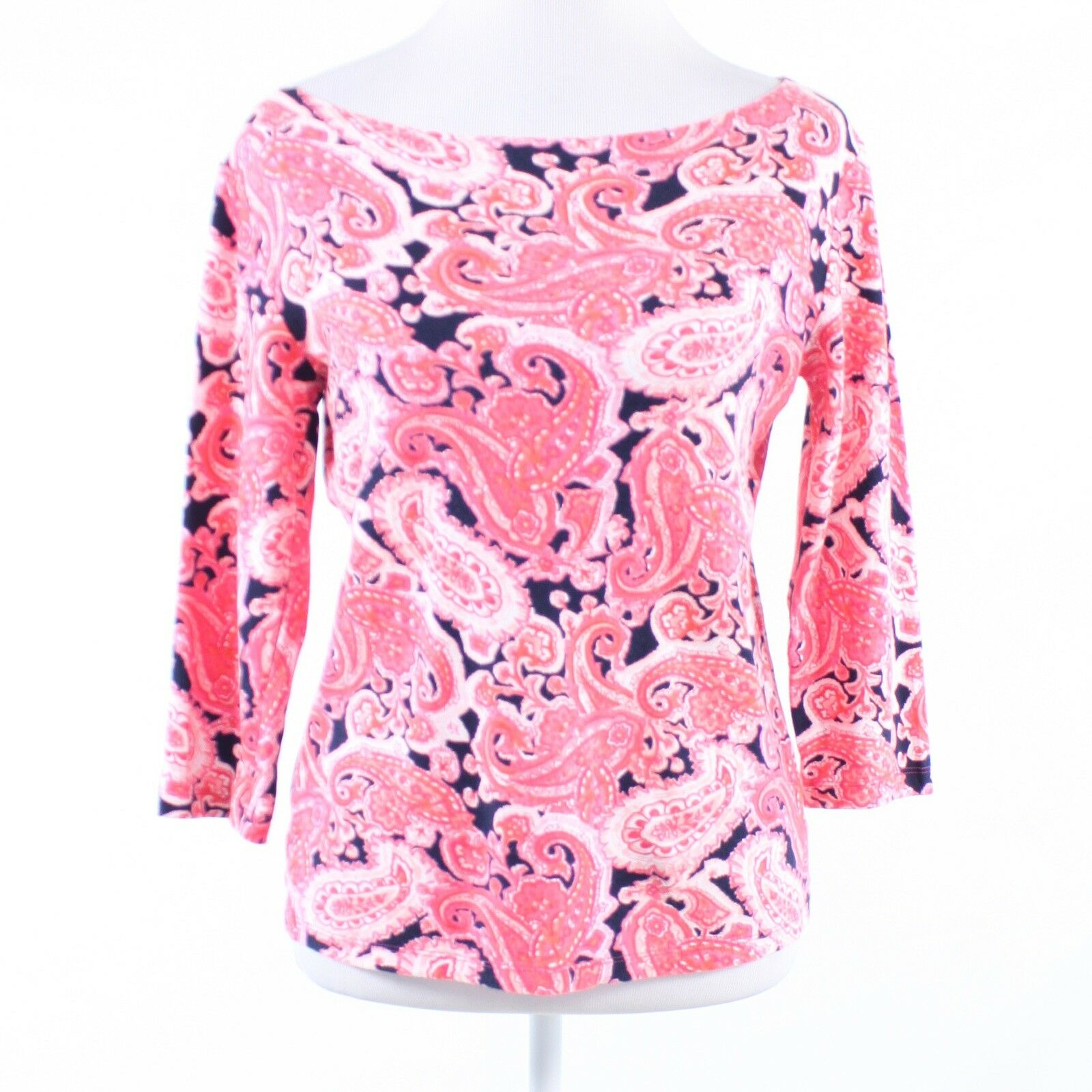 Pink blue paisley 100% cotton JONES NEW YORK stretch 3/4 sleeve blouse M