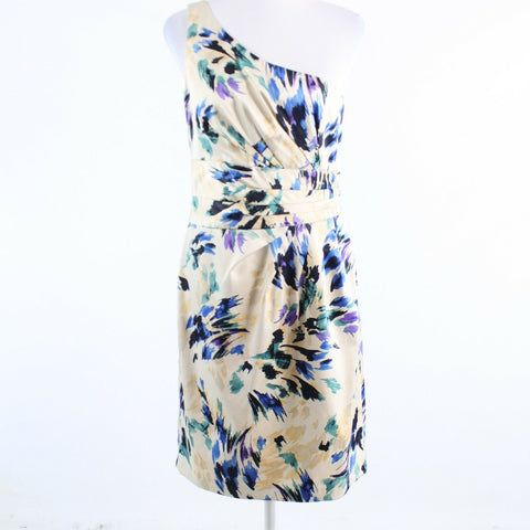 Light beige multicolor abstract ANTONIO MELANI one shoulder dress 8-Newish
