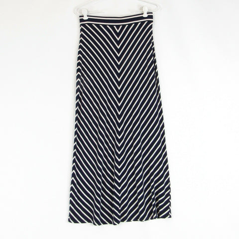 Navy blue white diagonal striped ANN TAYLOR LOFT maxi skirt PXS