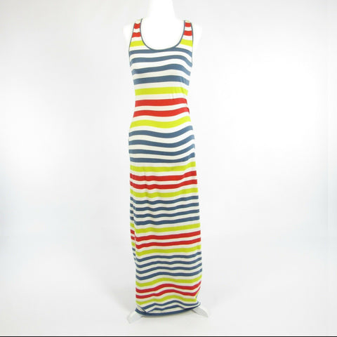 Blue white striped RACHEL ROY stretch sleeveless maxi dress S