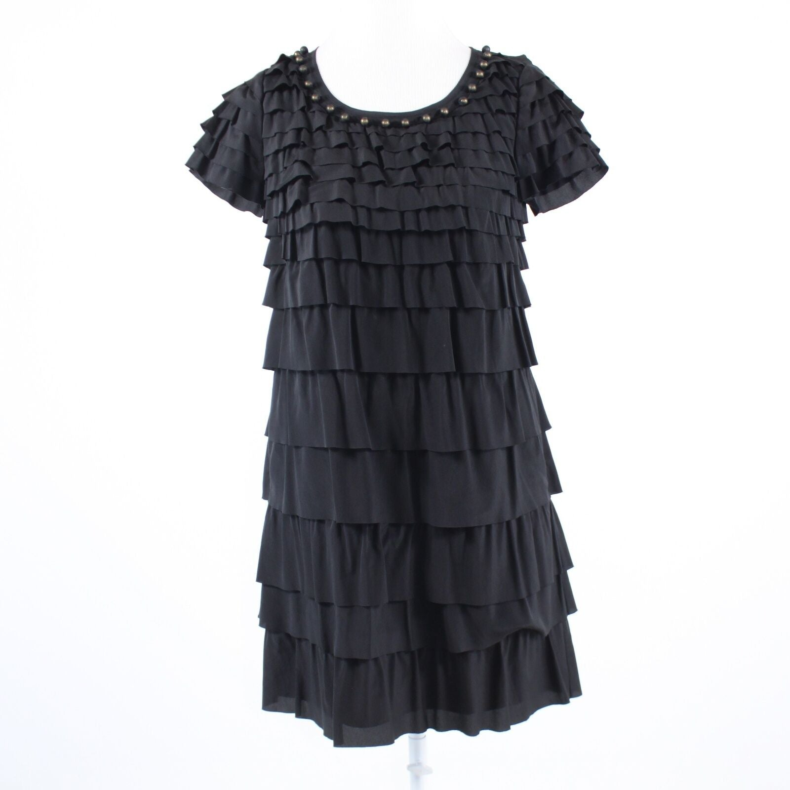 Black silk blend DKNY NEW YORK beaded neckline cap sleeve tiered dress 2