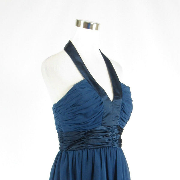 Dark blue LONDON TIMES sheer overlay halter neck A-line dress 10-Newish