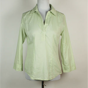 ANN TAYLOR LOFT light green 100% cotton 3/4 sleeve v-neck pleated trim blouse S-Newish