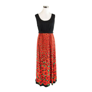Orange black floral print sleeveless vintage maxi dress 12