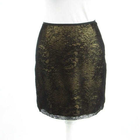 Black gold lace ELIE TAHARI pencil skirt 0 36-Newish