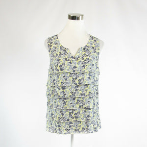 Light yellow gray floral print 100% cotton ANN TAYLOR LOFT sleeveless blouse S