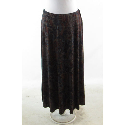 Dark purple brown floral print SOFT SURROUNDINGS stretch maxi skirt PS