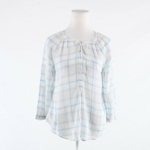 White blue plaid 100% cotton JOIE 3/4 sleeve button down blouse XS