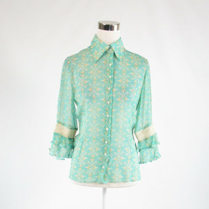Turquoise blue ivory geometric 100% silk ALLEGRA HICKS button down blouse 6