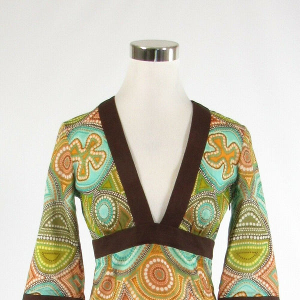 Brown white geometric 100% cotton MILLY 3/4 kimono sleeve empire waist dress 4-Newish