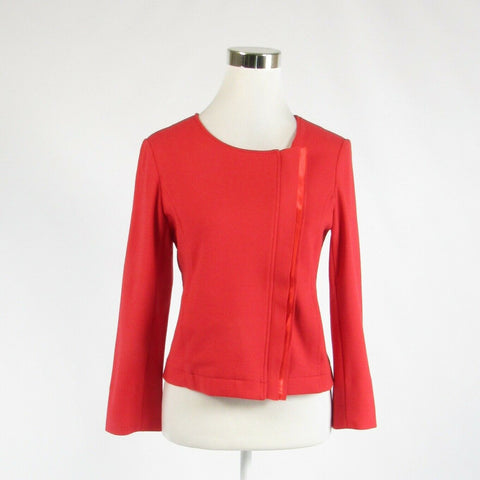 Red cotton blend ICB stretch slit cuff blazer jacket 6-Newish