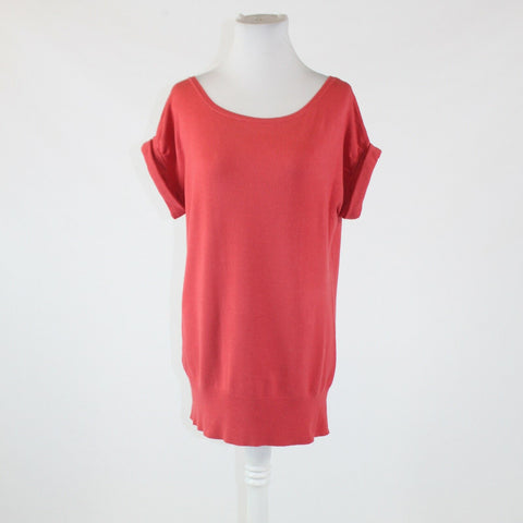 Salmon pink THE LIMITED cap sleeve ribbed trim scoop neck sweater M