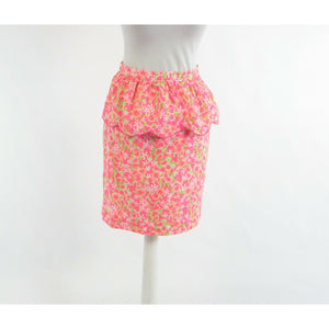 Bright pink green floral print 100% cotton LILLY PULITZER pencil skirt 2-Newish
