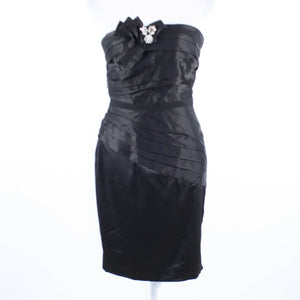 Black pleated WHITE HOUSE BLACK MARKET strapless wiggle dress 4-Newish
