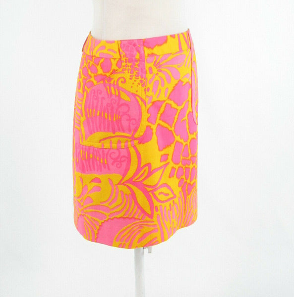 Bright yellow pink floral print cotton blend ETCETERA pencil skirt 4-Newish