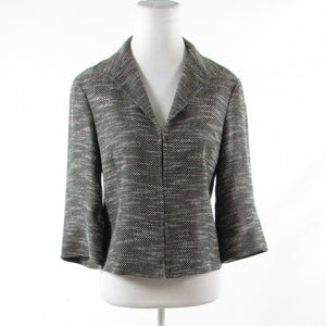 Black white space dyed tweed LAFAYETTE 148 3/4 kimono sleeve jacket 6