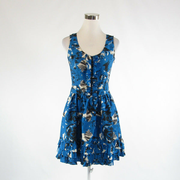 Blue black abstract satin KENSIE DRESSES beaded trim sleeveless A-line dress 4