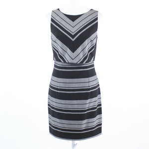Gray black uneven striped MARC NEW YORK sleeveless blouson dress 4