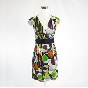 Brown gray geometric ANTHROPOLOGIE MOULINETTE SOEURS cap sleeve tea dress 2